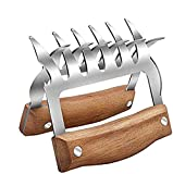 Upgraded Meat Claws - Premium Stainless Steel Meat Shredder with No-Slip Wooden Handle & BPA-Free Forks, Perfect for Shredding, Pulling, Handing, Lifting & Serving Pork, Turkey & Chicken (2 Pcs)
