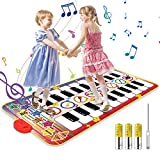 Vimzone Piano Matte für Kinder, Tanzmatte Musikmatte Klaviermatte Klaviertastatur Spielzeug Touch Musical Teppich mit 10 Klaviertasten 8 Instrumente für Jungen Mädchen Geschenk (140*71cm)
