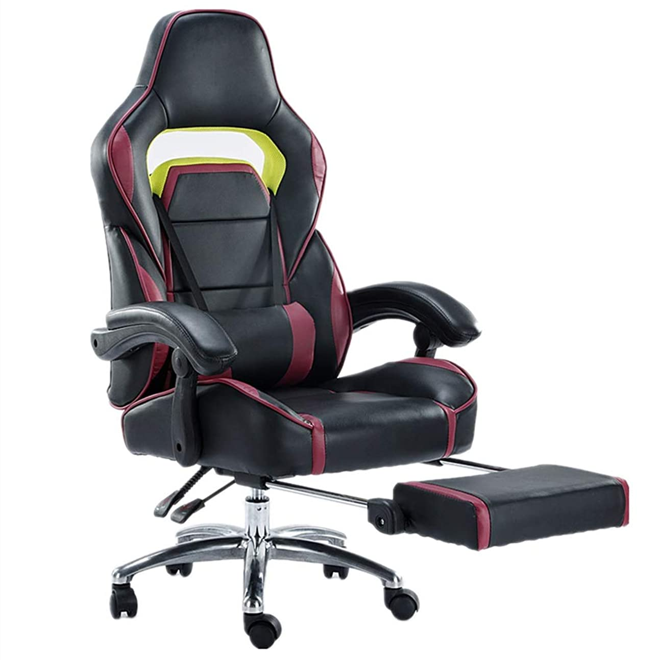 取り消す見落とす待つゲーミングチェアオットマンリクライニング 昼食休憩椅子人間工学に基づいた椅子スタイリッシュなオフィスチェアリクライニング170度はレーシングチェア昇降可能 (Color : Black, Size : As picture)