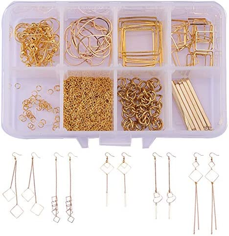 SUNNYCLUE 1 Box DIY 10 Pairs Geometric Hollow Squares Earrings Making Starter Kit Classic Drop product image