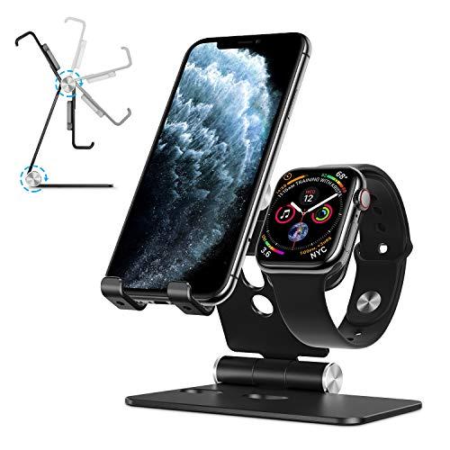 OMOTON 2 in 1 Supporto per iPhone e Apple Watch in Alluminio Stand da Tavolo con Foro per Caricabatteria del Watch- Adatto ai Smartphone Samsung Huawei e Tablet Samsung e iPad,Nero