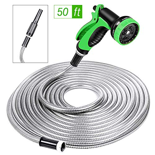 SPECILITE Heavy Duty 304 Stainless Steel Garden Hose 50ft, Outdoor Metal Water Hoses with Nozzle &...