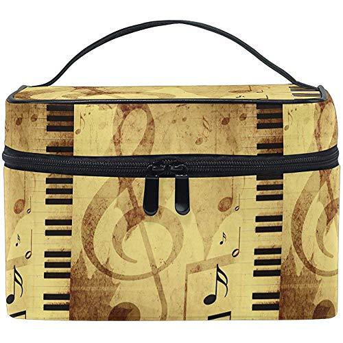 Rétro Symboles Musicaux Maquillage Train Case Cosmétique Sac Piano Notes Portable Zip Brosse Sac Organisateur De Stockage