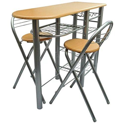 WEILANDEAL keuken/ontbijtbaar/set van houten tafel en stoelen zithoogte: 60 cm