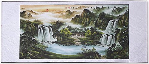 Large Size Feng Shui Painting Treasure Basin,Hand Mounted Wall Scroll Painting Ready to Hang, Office Living Room Decoration Attract Wealth and Good Luck(67