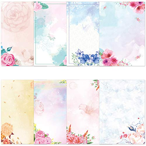 Watercolor Stationary Paper and Envelopes Set Pack of 48 Double Sided Printing Japanese Stationery Paper Set Floral Letter Writing Paper for Office School Home