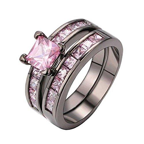 Liquidazione offerte, Fittingran Exquisite Women 2-in-1 Anello Set Vintage Purple Diamond Black Engagement Wedding Band da Sposa (6, Rosa)