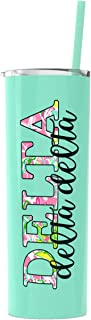 Delta Delta Delta sorority Stainless Steel Tumbler with Straw Cute Sister gift Vinyl decal Insulated Mint