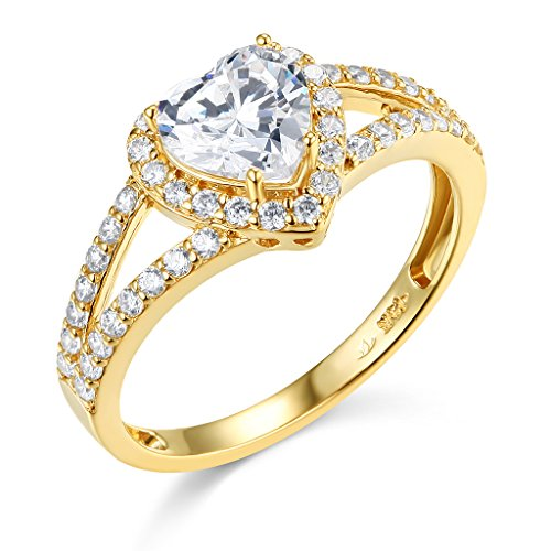TWJC 14k Yellow Gold Solid Wedding Engagement Ring - Size 8