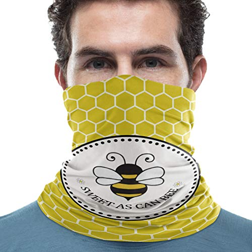 Unisex Neck Gaiter Sweet AS CAN BEE Cute Cartoon Bee Yellow Beehive 18 x 9 inch Sun Protection Scarf Lightweight & Breathable Head Wraps Sport Neck Scarf Headbands for Running/Cycling