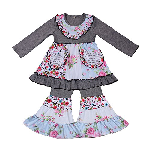 Yawoo Haan Toddler Baby Boutique Clothing Ruffle Dress Pants Set for Girls 6-7T Gray