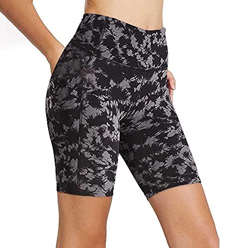 Pantalones Cortos Mujer Medias Deportivas Para Mujer Pantalones Cortos De Yoga De Alta Mar De Cintura Con Bolsillos Laterales Gimnasio Transporte De Actuación Biker Shorts Yoga Pantalones Deportivos-