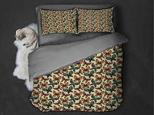 Toopeek Butterfly Quilt cover 3-piece set Abstract and Artistic Wings Fragility Freedom Themed Vintage Fantasy Composition Super soft and easy to maintain (Queen) Multicolor