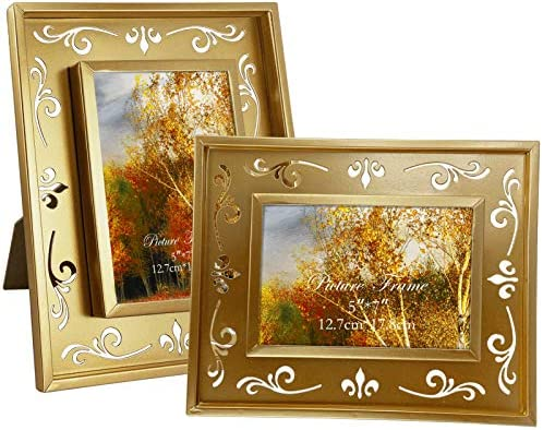 5x7 Metal Picture Frames with Hollow Floral Design Set of 2 Gold Photo Frame for Wall and Tabletop product image