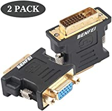 BENFEI DVI-I to VGA Adapter, 2 Pack DVI 24+5 to VGA Male to Female Adapter with Gold Plated Cord