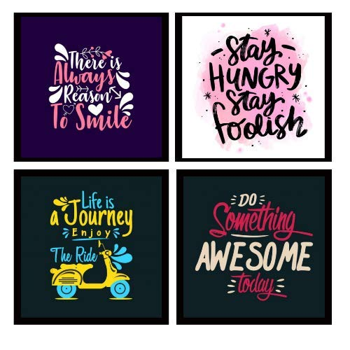 Webelkart Motivational/Funny Quote Wooden Photo Frame Poster for Wall, Office, Study Room Decoration (10 x 10 Inches) -Set of 4