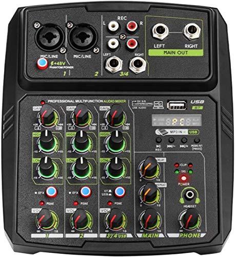 LIANGLEY Bluetooth Profesional 4 Canales de Micrófono Line Mezclador de Audio Mesa de Mezclas con Ecualizador de 48V grabación de DJ PC