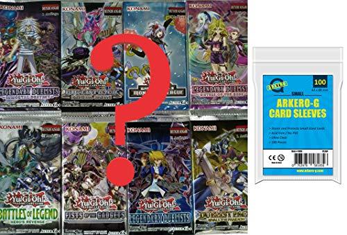 Yu-Gi-Oh! Karten Mystery Set: 5 zufällige Booster Packs - DEUTSCH - (5 Karten Boosterpacks) 100 Arkero-G® Small Soft Sleeves - YuGiOh Kartenhüllen