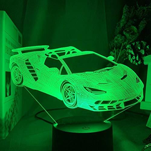 Lampe Optische Täuschung Autos geeignet für Kinder, Familie, Freunde, Geburtstag, Valentinstag, Weihnachtsgeschenke (Touch-Typ) -16 Color Crack_Sport Auto Lamborghini