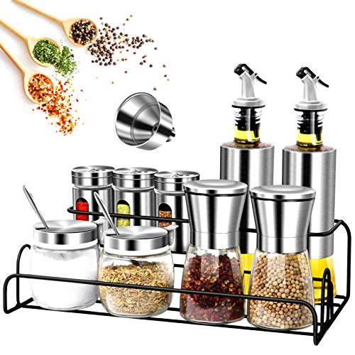 13Pcs Spice Containers Glass Set with Spice Rack Include Salt and Pepper Grinderoil and vinegar dispenser setSugar Bowl with Lid and SpoonSpice Jars Glass EmptySpice Rack for Kitchen