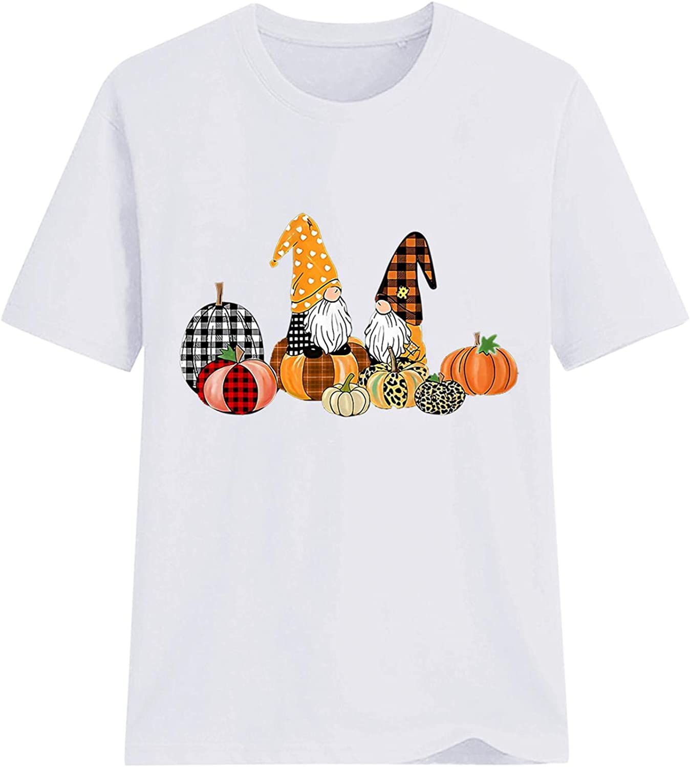 AODONG Womens Tops for Halloween Short Sleeves Pumpkin Gnomes Graphic T-Shirts Blouse Tops