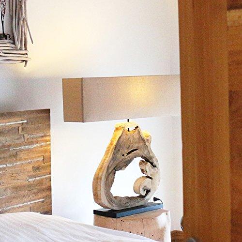 Möbel Bressmer Design Treibholz Tischlampe Holz-Lampe Höhe 62 cm   Handarbeit mit Teak Holz Sockel  Nachttisch Lampe Tischleuchte mit Lampenschirm   UNIKAT - Der Eyecatcher für Ihren Lieblingsplatz