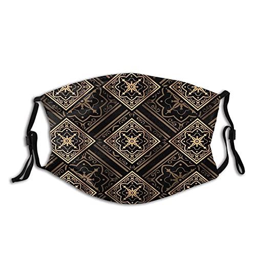Prenda impermeable étnica de las bufandas de la moda de la mandala del oro negro indio con 2 filtros para