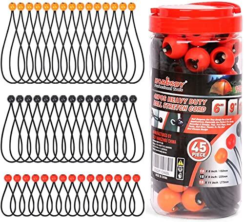 BRIMIX 45 pc Cuerdas elásticas con Bola, Pulpos tensores de Goma, Bungee Cord, Cuerda Tensor para Carpa, toldo, Tiendas de campaña, Equipaje