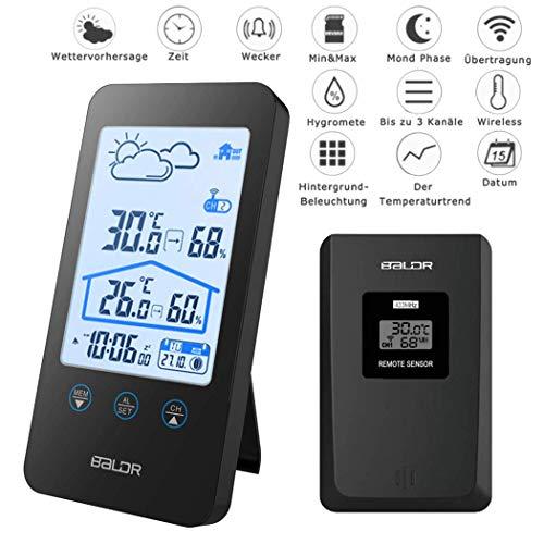 Digitales Thermometer Hygrometer MCvilla Zweckmäßig Wetterstationen Funk mit Außensensor Barometer Hintergrundbeleuchtung Uhrzeit Anzeige mondphasen aussenthermometer funk für Innen und Außen, Schwarz