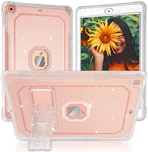 ZoneFoker New iPad 7th Generation Case, iPad Case 10.2 inch 2019, Clear Glitter Dual Layers Heavy Duty Shockproof Sturdy iPad Case with Built-in Stand Tablet Cover for Apple iPad 7th Gen –Clear