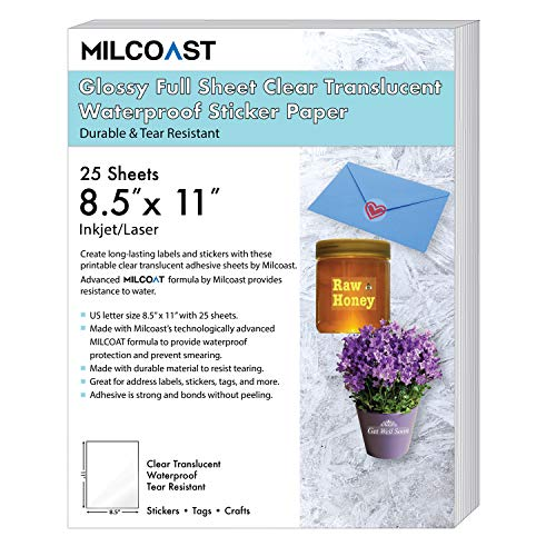 """Milcoast Glossy Full Sheet 8.5"""" x 11"""" Clear Translucent Waterproof Adhesive Sticker Paper Labels - 25 Sheets"""