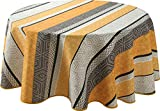 EasyNappes Tablecloth, Anti-Stain, Leon Yellow, Round 63 inch