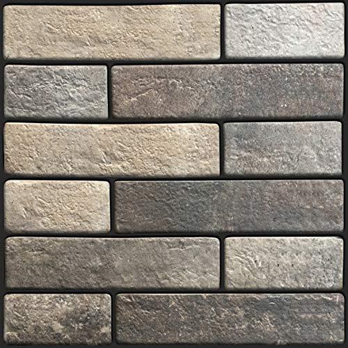Beyond 504 - Adesivi da parete 3D, effetto pietra, 30 x 30 cm, set da 6 pezzi, autoadesivi, colore grigio