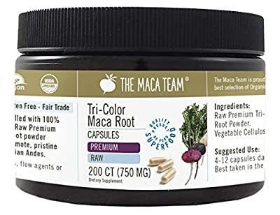 Certified Organic Premium Maca Capsules - 750 Mg, 200 Ct - Raw, Fresh Harvest From Peru, Fair Trade, Gmo-Free, Gluten Free And Vegan by The Maca Team, LLC