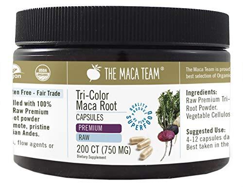 Maca Premium Cruda BIO en cápsulas, 750 Mg, 200 Cápsulas, recién cosechada de Perú, comercio Justo, sin OGM, sin Gluten y Vegana.