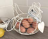 Cream Chicken Egg Basket with Heart and Ribbon