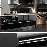 VEELIKE Papel Pintado Vinilo Autoadhesivo Negro Brillo Papel Pared Adhesivas para Muebles Puertas de Armario Encimera Cocina Papel de Pared 0.4m x 18m
