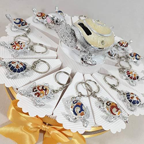 Bomboniere portachiavi con tartarughe argentate con guscio decorato con torta - NASCITA BATTESIMO COMUNIONE BIMBO E BIMBA (Torta da 14 fette, (A) Senza Confetti)