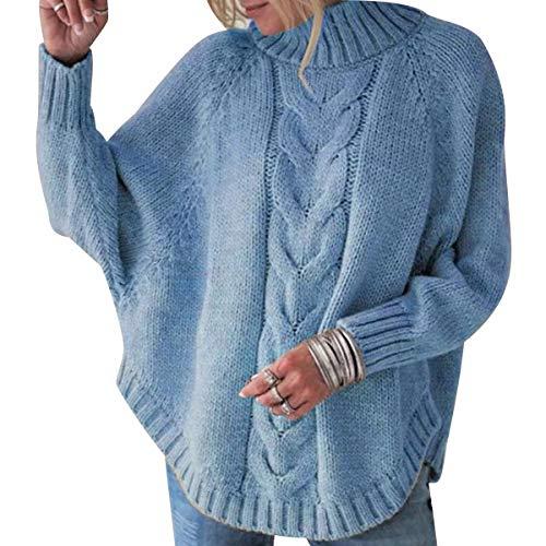 Jersey Punto Cuello Alto Mujer Oversize Sueter Mujer Suéter Jerséis Jerseys Grueso Mujeres Sueteres Jerseis Señora Manga Larga Invierno Largo Suéteres Pullover Sweater Holgado Tallas Grandes Azul 2XL