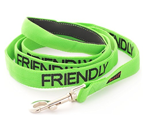 FRIENDLY Green Color Coded 2 4 6 Foot Padded Dog Leash (Known As Friendly) PREVENTS Accidents By Warning Others of Your Dog in Advance (Standard Leash)