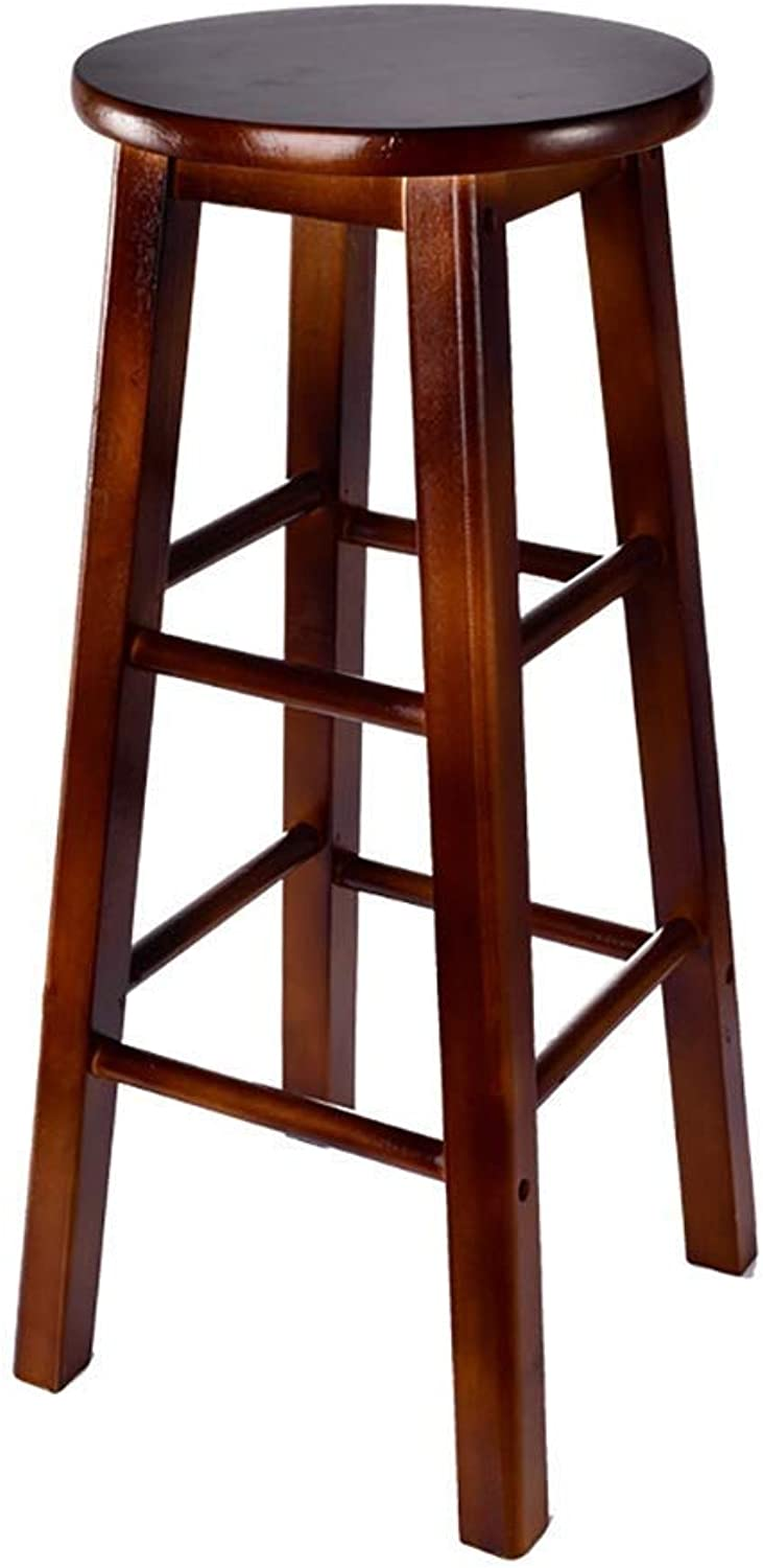 Bar Stool, Bar Chair, Restaurant High Stools, Solid Wood Lounge Chair, Pure Solid Wood Panel 60-70cm High Suitable for 90-100cm Bar JINRONG (color   Red Wine, Size   60cm)