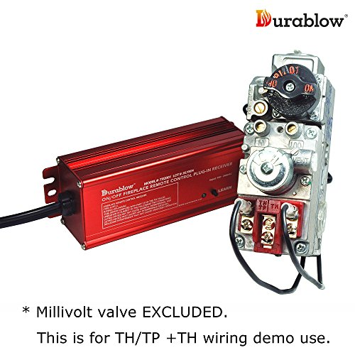 Durablow TR2001 Gas Fireplace On/Off Remote Control Kit for Millivolt Valve or Electronic Ignition Module (Input 100-240VAC)
