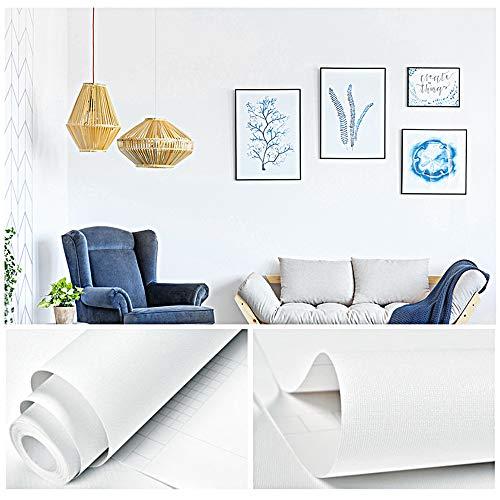 GLOBALDREAM Tapete Weiß, Selbstklebende Klebefolie Verdickte Aufkleber Matt Selbstklebend Tapete für Wohnzimmer Schlafzimmer TV Hintergrund Wand, 40cm x 10m