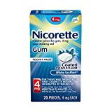 Nicorette 4mg Nicotine Gum to Quit Smoking White Flavored, Ice Mint, 20 Count