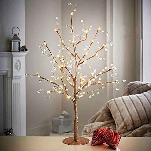 Lichterbaum gold 70 cm mit Juwelen und 48 LED-Lichtern Deko