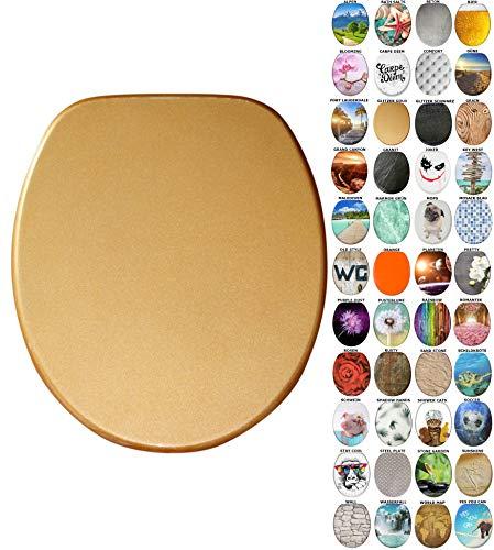WC Sitz mit Absenkautomatik, viele neue WC-Sitze zur Auswahl, hochwertige Oberfläche, einfache Montage, stabile Scharniere (Glitzer Gold)
