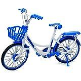 alles-meine.de GmbH 2 Stück _ große - Fahrräder / Bike - E-Bike mit Korb - blau & weiß - 18 cm - stabiles Metall - Modell Maßstab: 1:10 - Deko & Spielen - Dekofahrrad - für Kinde.. -