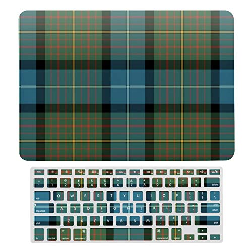 For MacBook New Pro 13 Touch Case, Plastic Hard Shell Case & Keyboard Cover Compatible with MacBook New Pro 13 Touch, Moss Green And Turquoise Plaid California Tartan Laptop Protective Shell Set