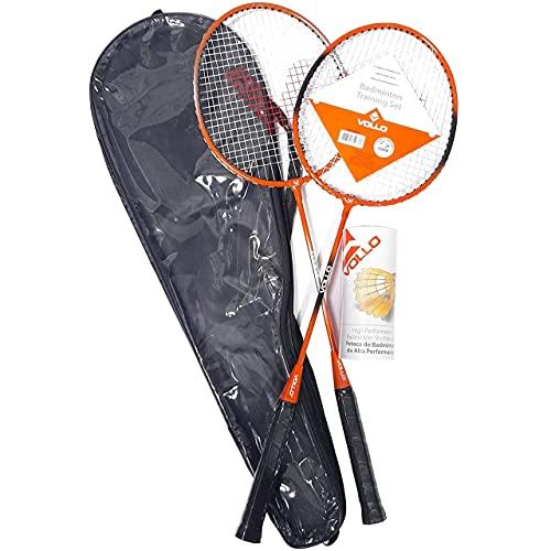 Vollo Sports Kit Badminton 2 Raquetes e 3 Petecas de Nylon, Preto e Laranja