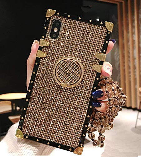 KAPADSON for iPhone 7 Plus /8 Plus Luxury Bling Glitter Sparkle Cute Gold Square Corner Soft Shock-Absorption Phone Hold Case Cover with Strap - Gold